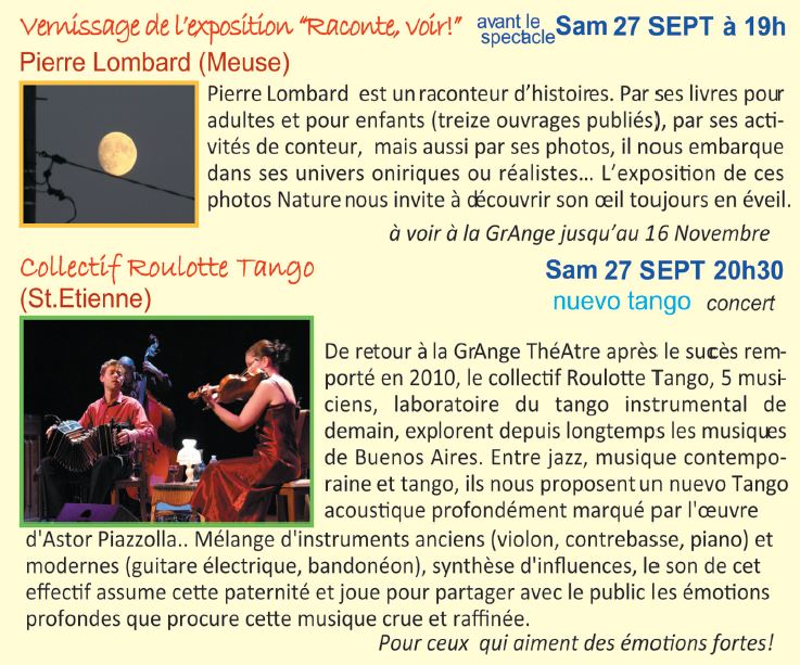 Programme GrAnge ThéAtre 27 septembre 2014